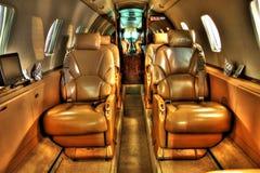 Haute photo de définition de cabine d'avion à réaction de privat Photographie stock libre de droits