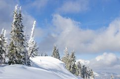 Haute profonde de neige dans les montagnes photographie stock