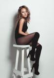 Hautecouture-Blick-Zauberporträt des schönen sexy stilvollen blon Stockbild