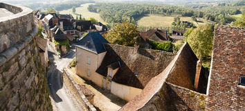 Hautefort Dordogne France. Hautefort town from Hautefort castle that is one of the most prestigious castles situated in Perigord Noir, France, near the Dordogne royalty free stock image