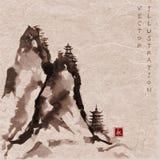 Hautes montagnes avec des pagodas tirées par la main avec l'encre Photo libre de droits