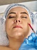 Hautfüllerlippen der Frau im Badekurortsalon mit Kosmetiker Lizenzfreies Stockfoto