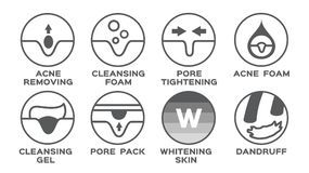 Hautikone/-akne, welche die Pore festzieht den Reinigungsschaumgelsatz weiß wird Schuppen entfernt vektor abbildung