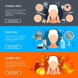 Hautpflege-flache horizontale Fahnen Lizenzfreie Stockfotos