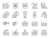 Hautpflegeikonensatz Enthaltene Ikonen als Kollagen, medizinische Kosmetik, Lichtschutz, Gesichtscreme, gesunde Haut, Falte und m lizenzfreie abbildung
