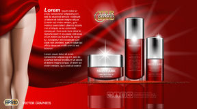 Hautpflegeschönheit Creme für den Körper und Lotion Befeuchtende kosmetische Anzeigenschablone Realistisches Frauenschattenbild d Lizenzfreies Stockfoto