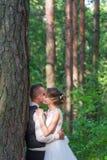Hauts arbres et baiser des ménages mariés Photos libres de droits