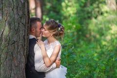 Hauts arbres et baiser des ménages mariés Photos stock