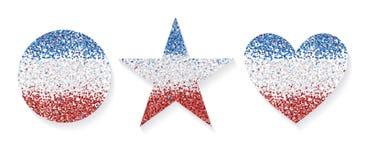 Hauts de forme de friandise réglés Hauts de forme d'étoile, de coeur et de forme ronde Surface de trois confettis de couleurs illustration libre de droits