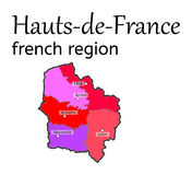 Hauts-de-France french region map Royalty Free Stock Image