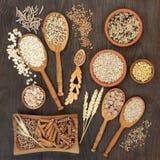 Hauts grain de pâtes de fibre et nourriture biologique de céréale Image libre de droits