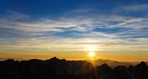 hauts tatras de coucher du soleil de la Slovaquie Photos stock