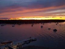 hav över solnedgång Arkivbilder