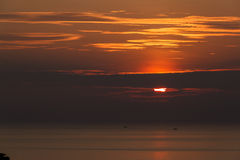 hav 3d framför solnedgång Royaltyfria Bilder