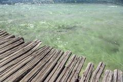 Hav eller hav och en träpir Royaltyfri Foto