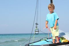 hav för brädepojkecatamaran Royaltyfria Foton