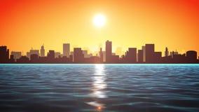 hav för solnedgång 4k med Cityscape royaltyfri illustrationer