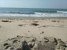 hav för strandvandringsledpir till arkivbild