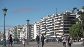 Hav-framdel i Thessaloniki stock video