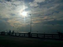 Hav himmel, soluppgång, strand, hav, strand, berg, hav, härligt landskap, Thailand, Khao Laem Ya, Rayong Arkivfoton