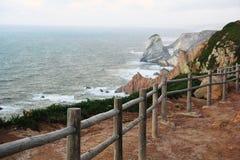 Hav landskap, ledstång, Portugal Arkivfoton