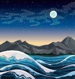 Hav med vågor och natthimmel. Royaltyfria Bilder