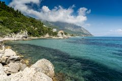 Hav och klippor Poros, Elios Proni, Cephalonia Kefelonia, Grekland Arkivfoton