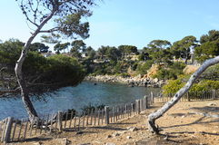 Hav och kust i Bandol, Frankrike Royaltyfria Bilder