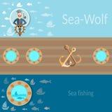 Hav och segling, sjöman, skepp, fiske, ankare, vektorbaner Arkivbilder
