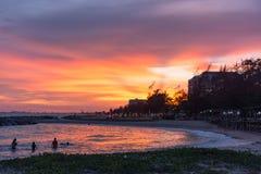 Hav och solnedgång Arkivbilder