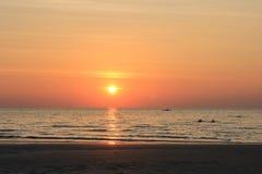 Hav och solnedgång Fotografering för Bildbyråer