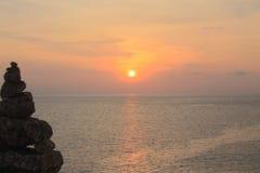 Hav och solnedgångar Arkivfoto