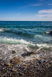 Hav och stenar, Cinque Terre, Italien Arkivfoton