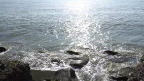 Hav och steniga stenar på kusten Havet och vaggar arkivfilmer