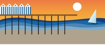 Hav och strand i en sommardag stock illustrationer