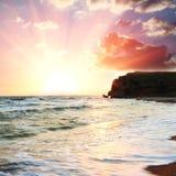 Hav på solnedgångar arkivfoton