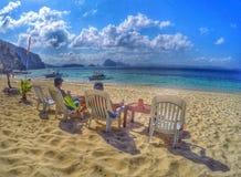 Hav, sand och vänner Royaltyfri Foto