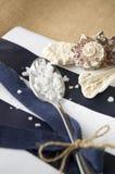 Hav som är salt i sked med skalbakgrund Royaltyfri Bild