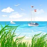 Hav, strand och yacht royaltyfri illustrationer
