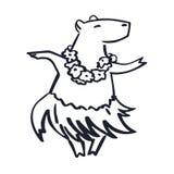 Havaí bonito trajou a mascote do capybara dos desenhos animados do dançarino ilustração do vetor