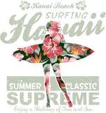 Havaí floral que surfa Fotografia de Stock