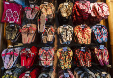 Havaianas products in Brazil. The first pair of Havaianas sandals were made in 1962 by Alpargatas, a renowned Brazilian footwear and apparel company. Inspired by Royalty Free Stock Photos
