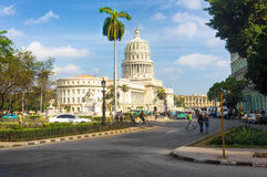 People and traffic near the Capitol in Havana Royalty Free Stock Photos