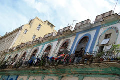 Havana balcone. Urban view of an old building and his balcony in old Havana, Cuba Stock Images