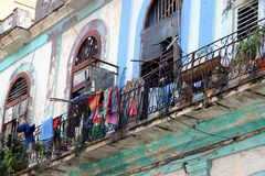 Havana balcone #2. Urban view of an old building and his balcony in old Havana, Cuba Royalty Free Stock Photography