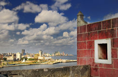 Havana bay skyline from fortress Royalty Free Stock Images