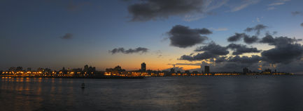 Havana bay skyline at nightfall Royalty Free Stock Photography
