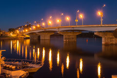 Havana Bridge In Kiev At Night. Royalty Free Stock Photo