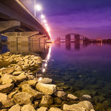 Havana bridge in Kiev at night Royalty Free Stock Photos