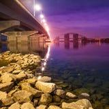 Havana bridge in Kiev at night Royalty Free Stock Photos